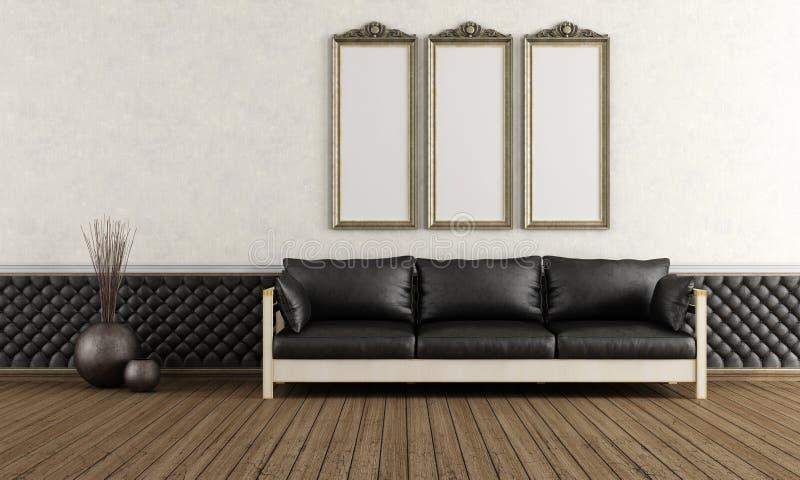 Czarny i biały retro pokój ilustracji