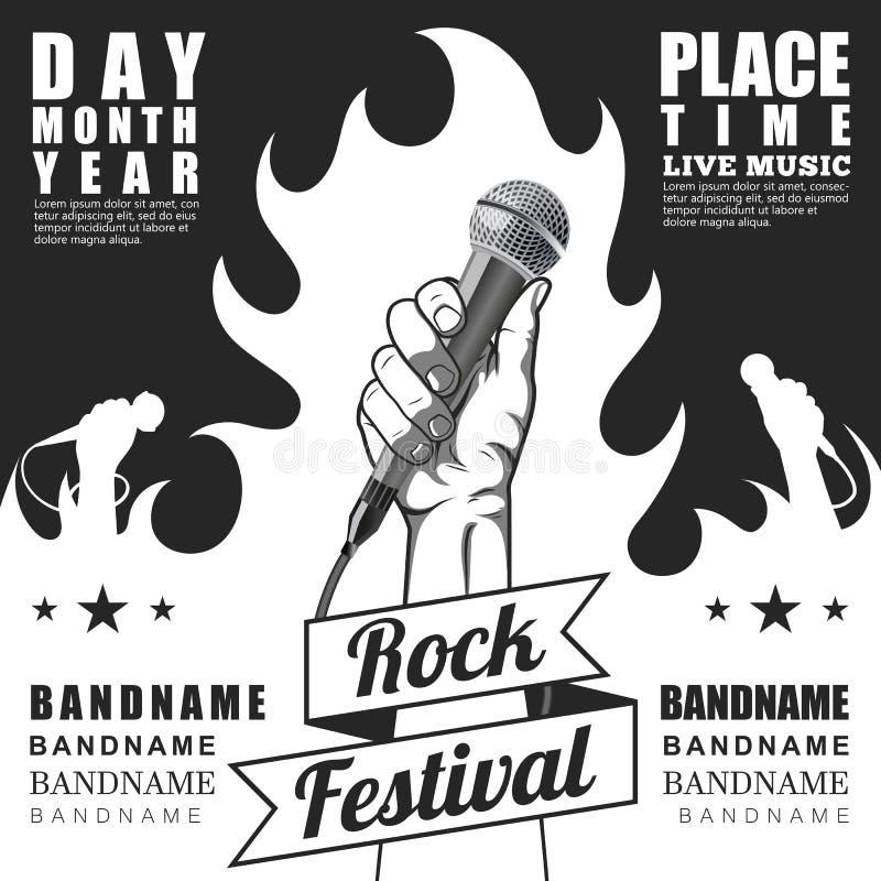 Czarny i biały Rockowy festiwalu plakat Ręka trzyma mikrofon w pięści ilustracji