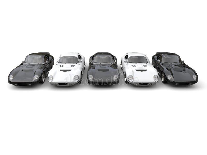 Czarny i biały roczników sportów samochody ilustracji
