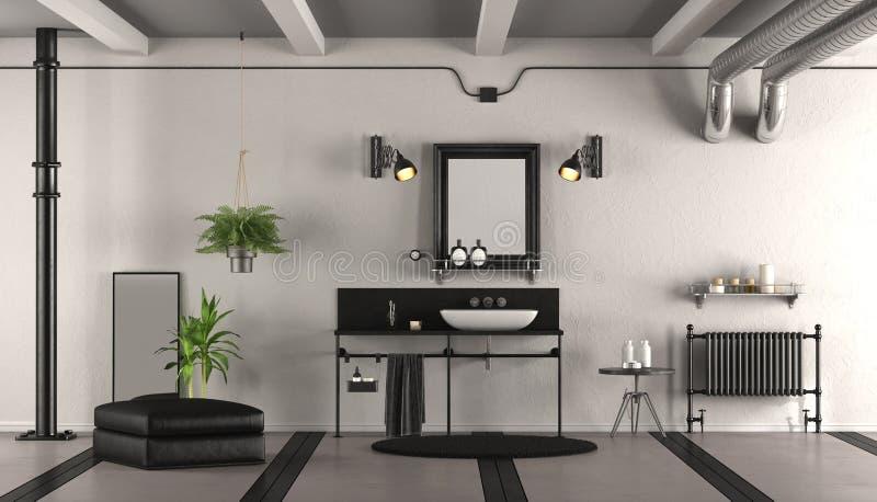 Czarny i biały rocznik łazienka ilustracja wektor