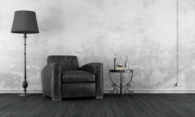 Czarny i biały rocznika pokój ilustracja wektor