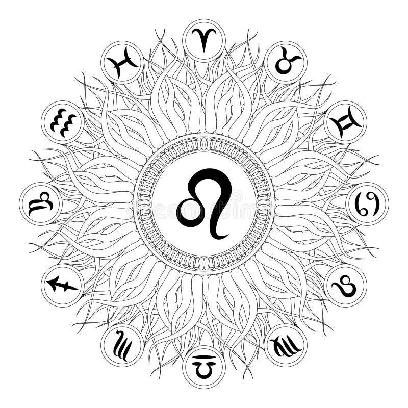 Czarny i biały round mandala z zodiaka symbolem Leo - dorosła kolorystyki książka ilustracji
