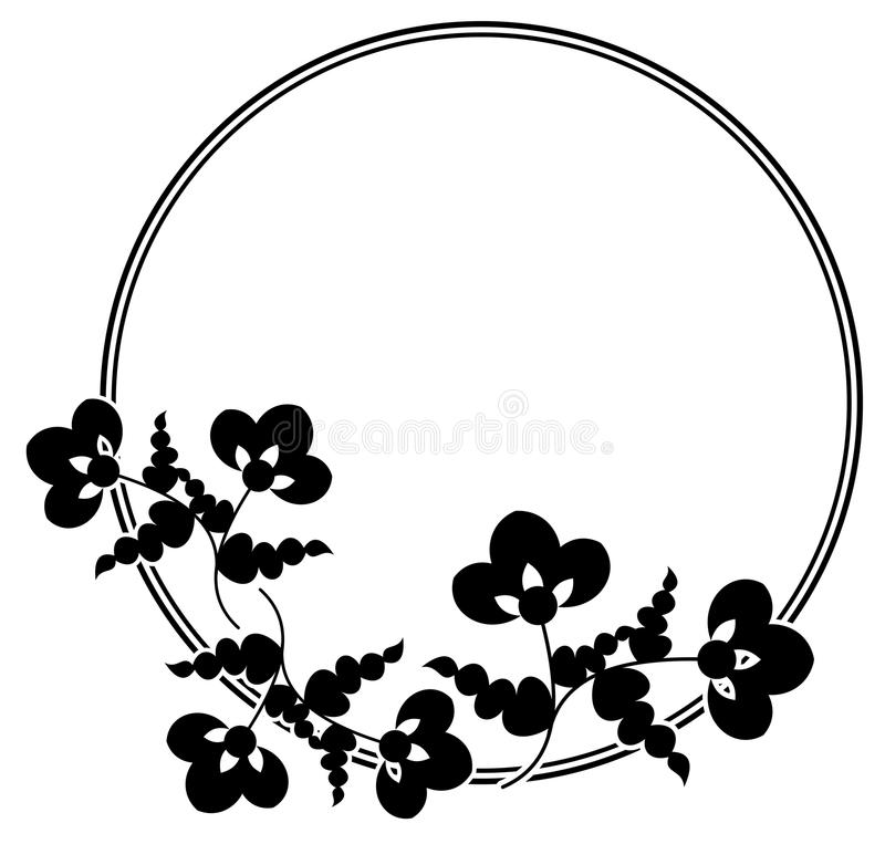 Czarny i biały round rama royalty ilustracja