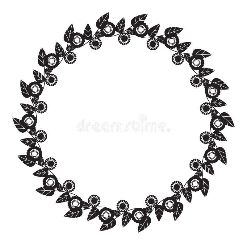 Czarny i biały round rama z abstrakcjonistycznymi kwiat sylwetkami ilustracja wektor