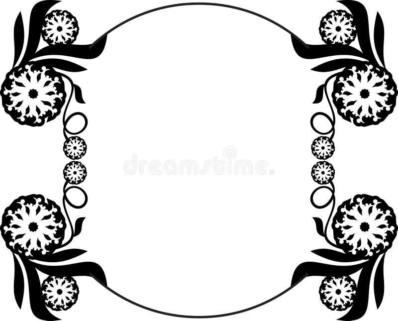 Czarny i biały round rama z kwiecistymi sylwetkami royalty ilustracja