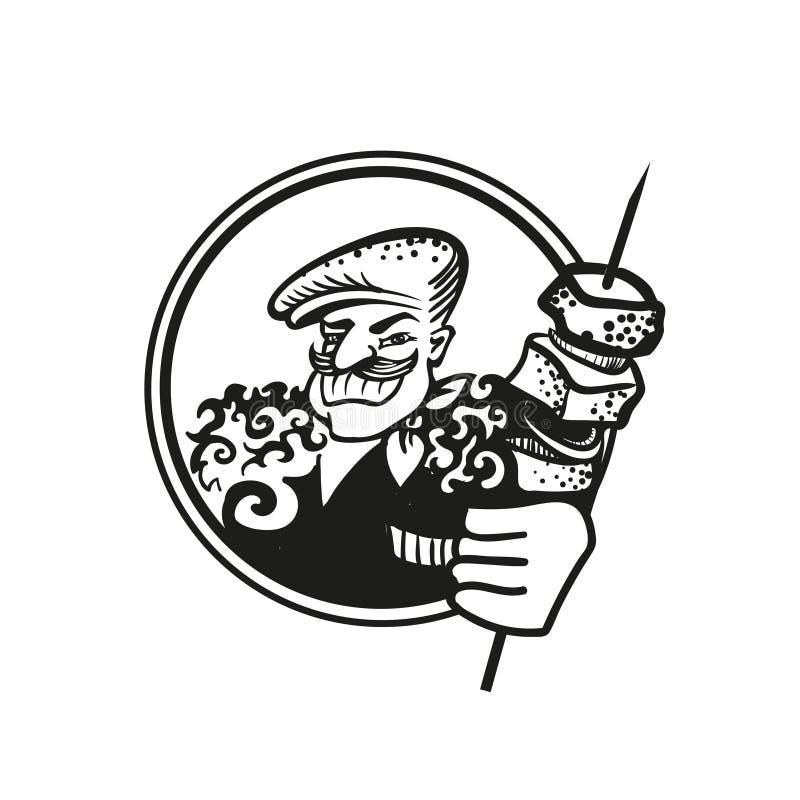Czarny i biały rysunek Gruziński kucharz w nakrętce i baranku z skewer shish kebabs ilustracji