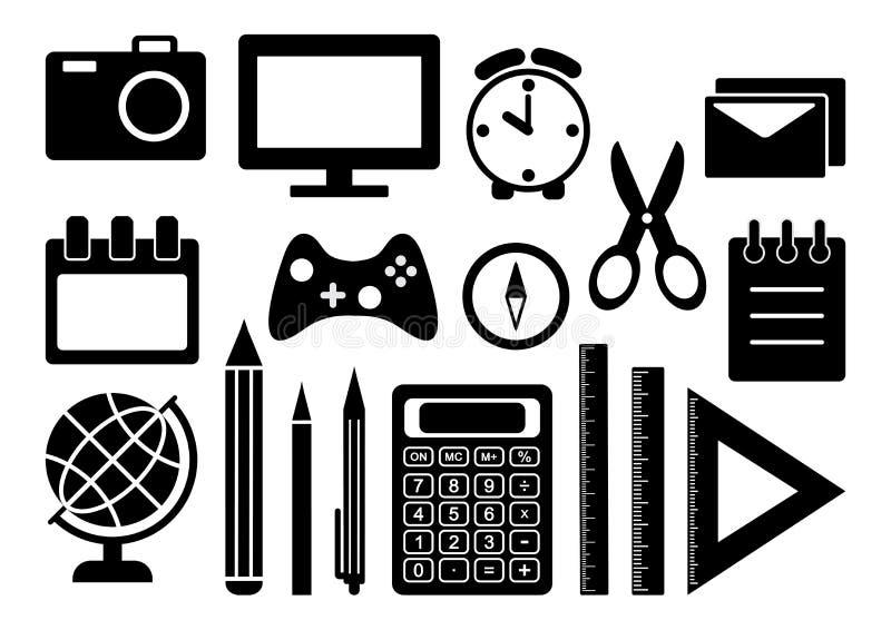 Czarny i biały set materiały Szkolne lub Biurowe dostawy wektor ilustracji
