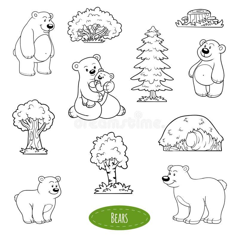 Czarny i biały set zwierzęta i przedmioty, rodzina niedźwiedzie royalty ilustracja