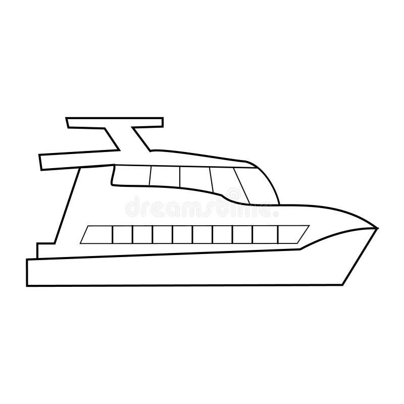Czarny i biały sieci ikon morscy naczynia, statek, łódź, jacht ilustracji