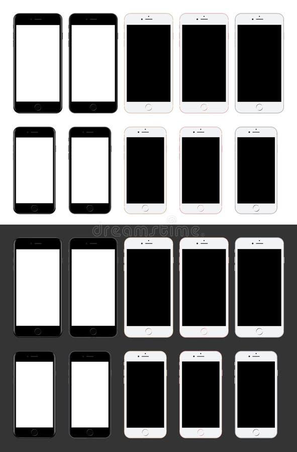Czarny i biały smartphone odosobniona realistyczna ilustracja pusty ekran technologia ruchomej nowy telefon czarny tło biel ilustracji