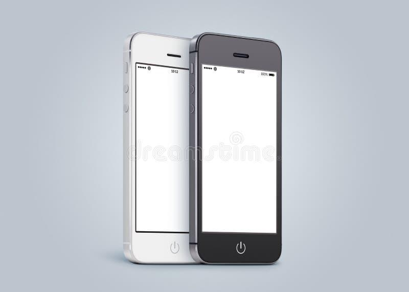 Czarny i biały smartphones blisko do each inny royalty ilustracja