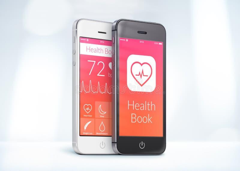 Czarny i biały smartphones z opieką zdrowotną rezerwują app na scr obraz royalty free