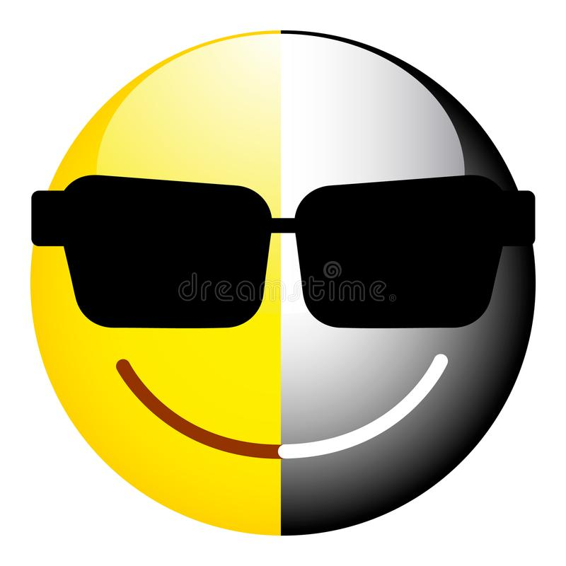 Czarny i biały smiley Symbol dualność, sekretność ilustracji