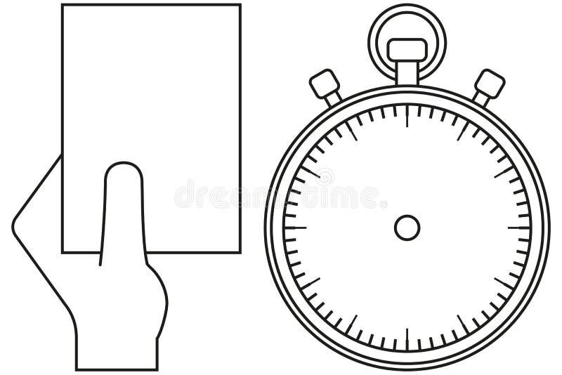 Czarny i biały sporta zegaru arbitra karty ikony set ilustracji