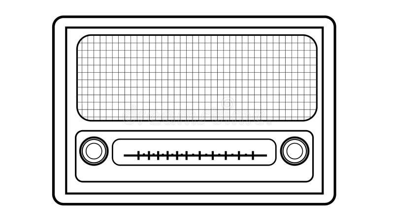 Czarny i biały starego retro antykwarskiego rocznika modnisia prostokątny pierwszy radio, muzyczny radiowy odbiorca malował z ude ilustracji