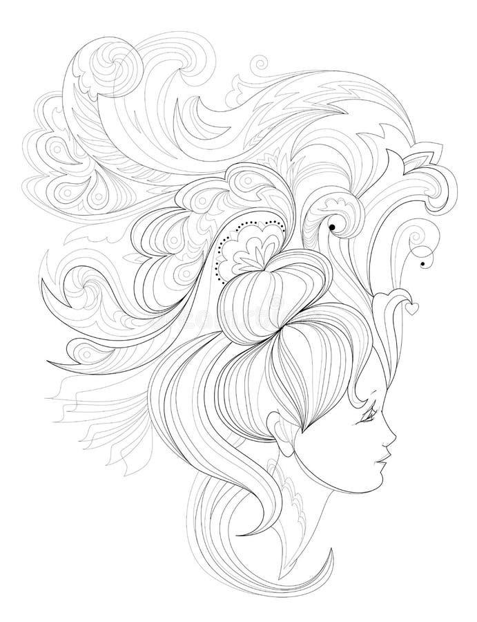 Czarny i biały strona dla barwić Fantazja rysunek kobiety twarz z modną fryzurą Reklamowy plakat dla fryzjera ilustracja wektor