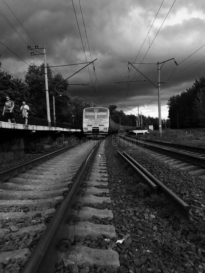 Czarny i biały strzał klasyczny kniaź pociąg - UKRAINA obrazy royalty free