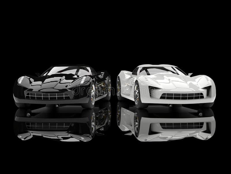 Czarny i biały super sporta pojęcia samochody - odbijająca ziemia ilustracja wektor