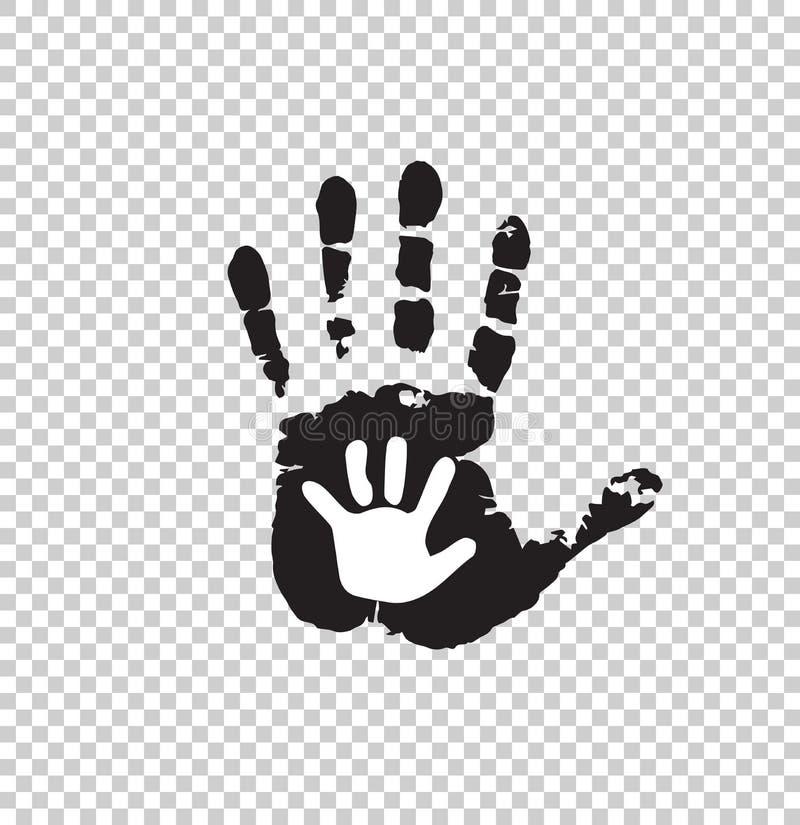 Czarny i biały sylwetka dorosłego i dziecka ręka odizolowywająca royalty ilustracja