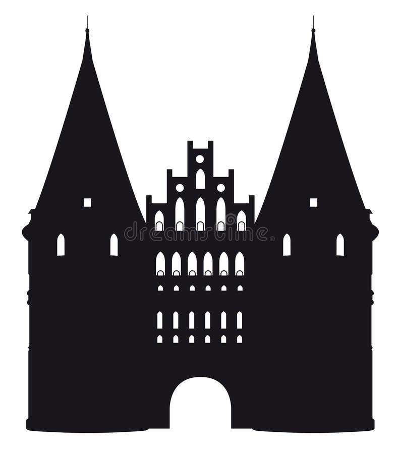 Czarny i biały sylwetka Holstentor w Luebeck, Niemcy royalty ilustracja