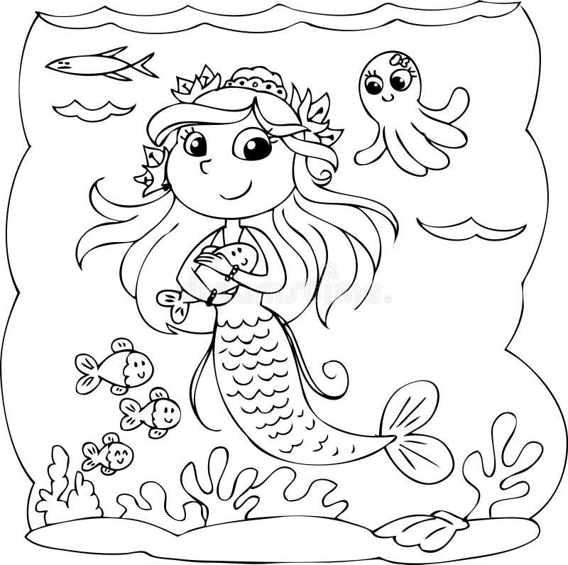 Czarny i biały syrenka pod wodą ilustracja wektor