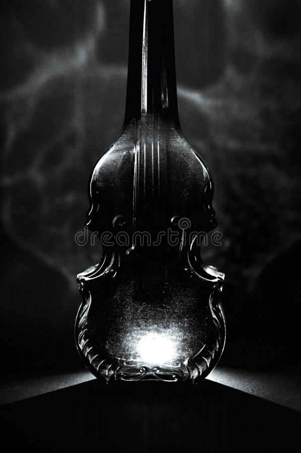 Czarny i biały szklanej butelki luksusowa forma skrzypce z alcoh zdjęcie stock