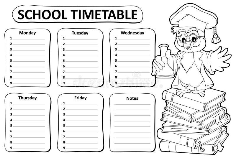 Czarny i biały szkolny rozkład zajęć temat 4 ilustracji