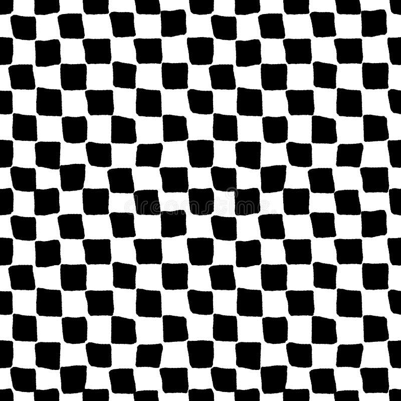 Czarny i biały szorstki w kratkę bezszwowy wzór, wektor ilustracja wektor