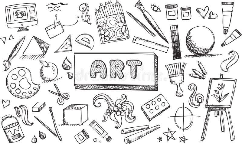 Czarny i biały sztuki piękna wyposażenie i stacjonarna doodle ikona ilustracji