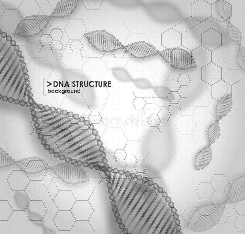 Czarny i biały tła DNA struktura royalty ilustracja