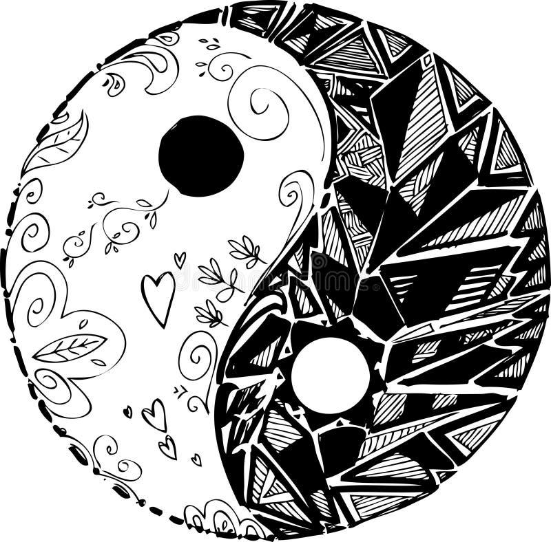 Czarny i biały TAO symbol ilustracja wektor