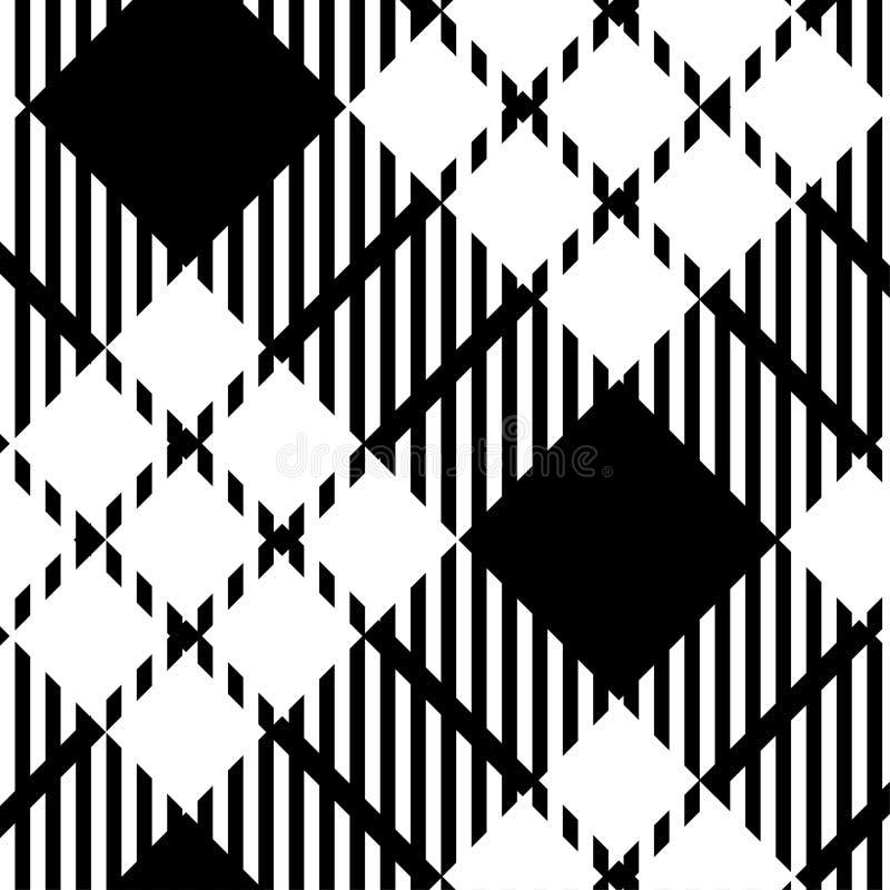 Czarny i biały tartan szkockiej kraty wzór - Wektorowa ilustracja - EPS-10 ilustracja wektor