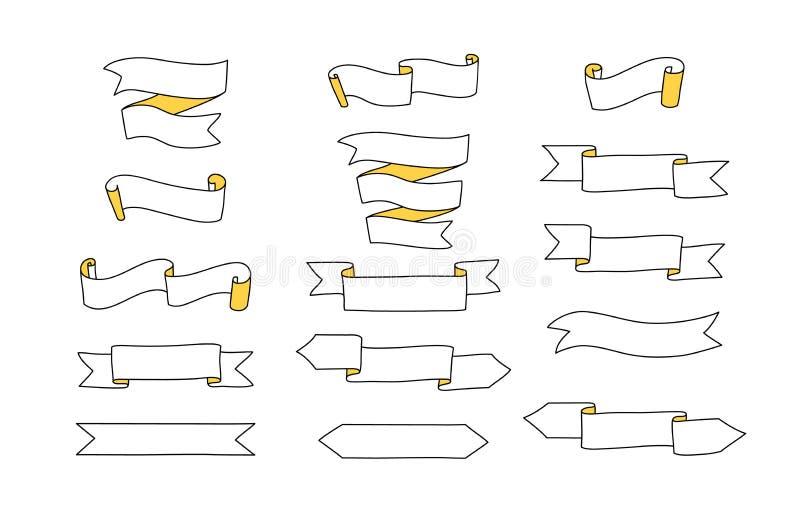 Czarny i biały tasiemkowi sztandary ustawiający, wektor ilustracji