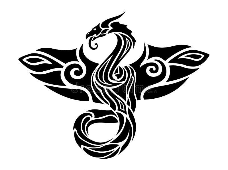 Czarny i biały tatuaż sztuka z latającym smokiem royalty ilustracja