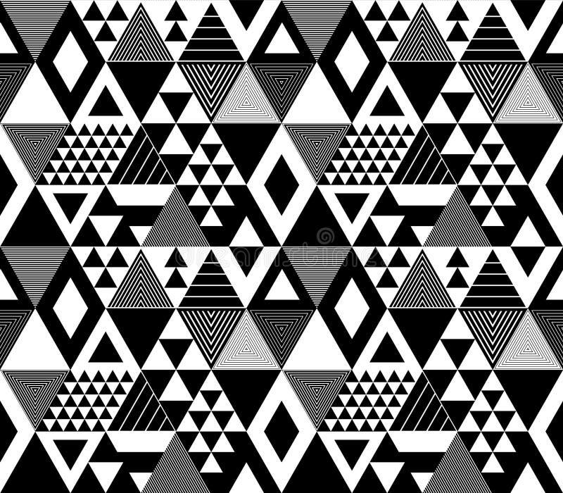 Czarny i biały textured śmiali trójboki geometryczny abstrakcjonistyczny bezszwowy wzór, wektor ilustracji