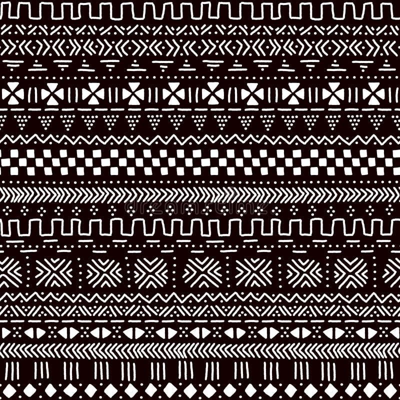 Czarny i biały tradycyjnej afrykańskiej mudcloth tkaniny bezszwowy wzór, wektor royalty ilustracja
