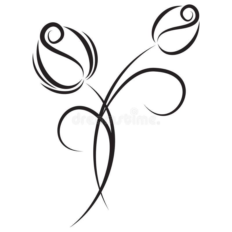 Czarny i biały tulipanowy kwiatu motyw ilustracja wektor