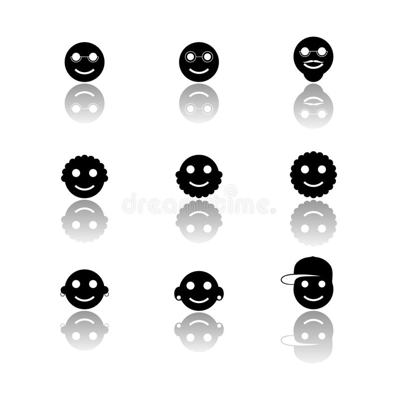 Czarny i biały uśmiech ikony ustawiać royalty ilustracja
