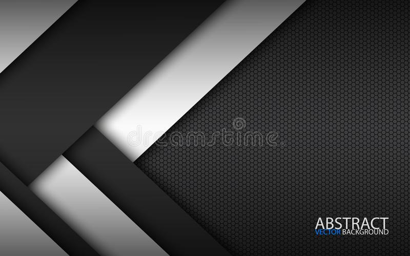Czarny i biały warstwy nad each inny, nowożytny materialny projekt z heksagonalnym wzorem, korporacyjny szablon ilustracja wektor