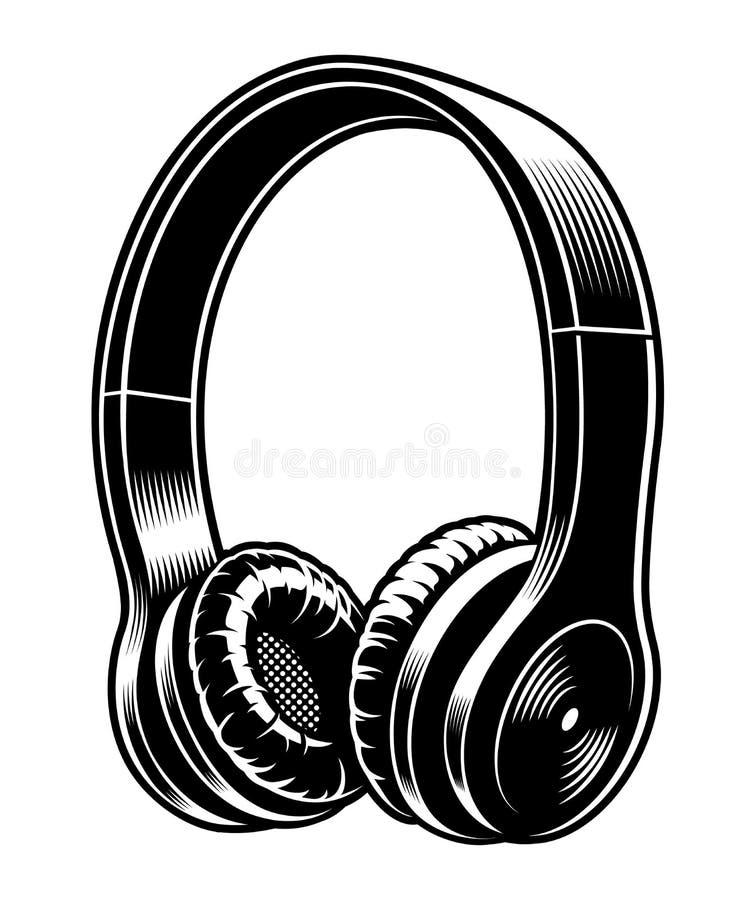 Czarny i biały wektorowa ilustracja hełmofony ilustracji