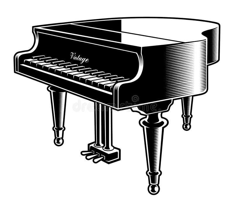 Czarny i biały wektorowa ilustracja pianino royalty ilustracja