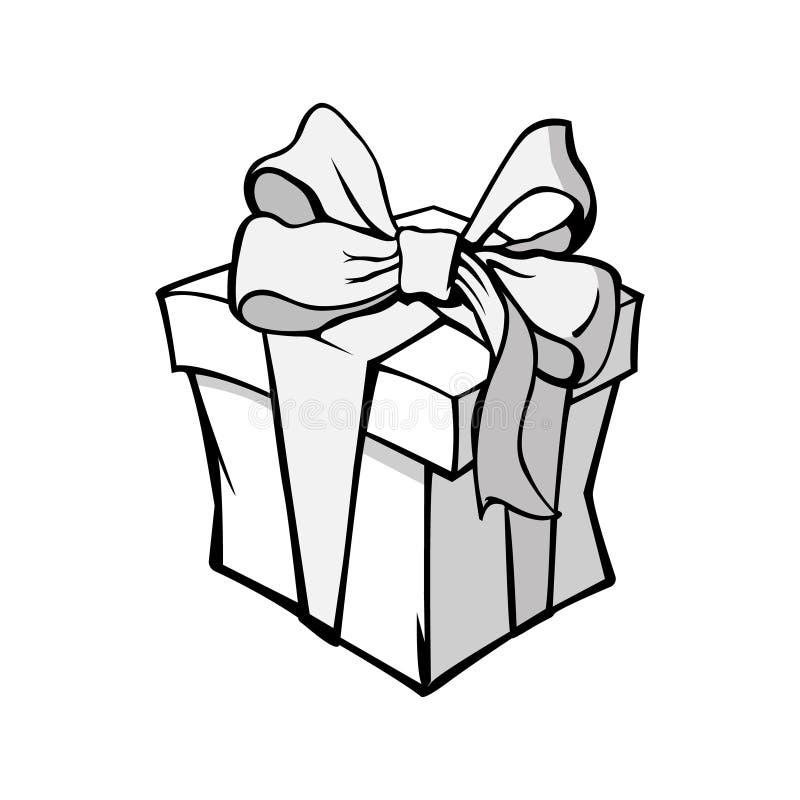 Czarny i biały wektorowa ilustracja, prezenta pudełko z łękiem ilustracja wektor