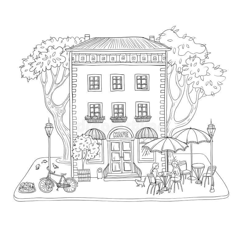 Czarny i biały wektorowa nakreślenie ilustracja Miasto kawiarnia w rocznika budynku na ulicie, kobiety pije kawę i ilustracji