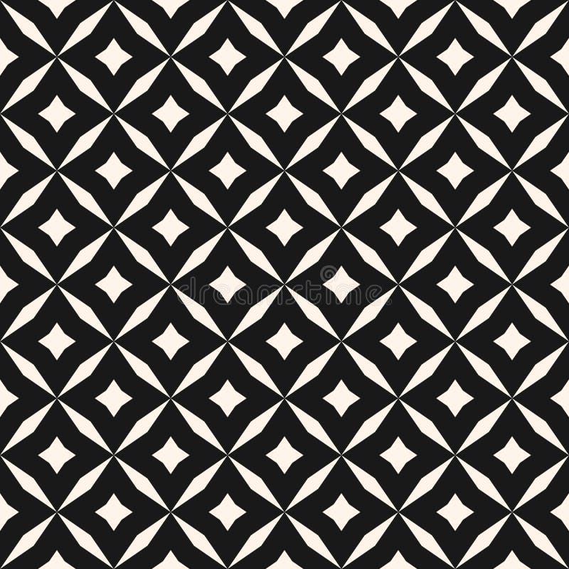Czarny i biały wektorowy abstrakcjonistyczny bezszwowy wzór z siatką, diamentów kształty, gwiazdy, rhombuses, kratownica, powtóre ilustracji