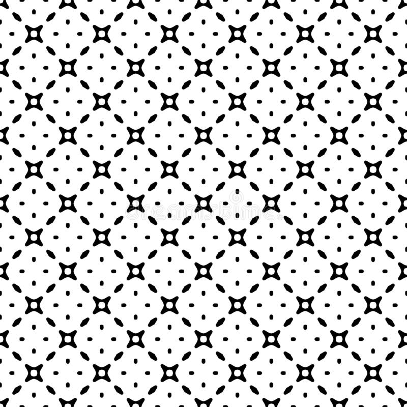 Czarny i biały wektorowy abstrakcjonistyczny bezszwowy wzór z siatką, diamentów kształty, gwiazdy, rhombuses, kratownica, powtóre royalty ilustracja