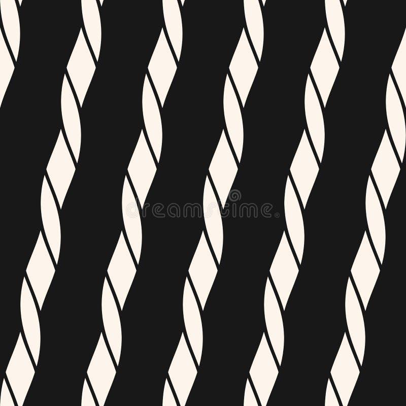 Czarny i biały wektorowy bezszwowy wzór z diagonalnymi arkanami, lampasy, sznury ilustracji