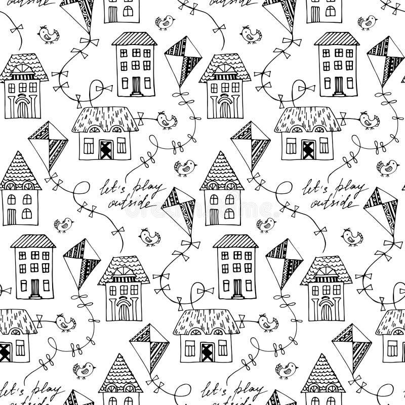 Czarny i biały wektorowy bezszwowy wzór z latającymi kaniami ilustracji