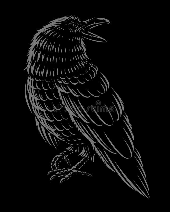 Czarny i biały wektorowy ilustration kruk royalty ilustracja
