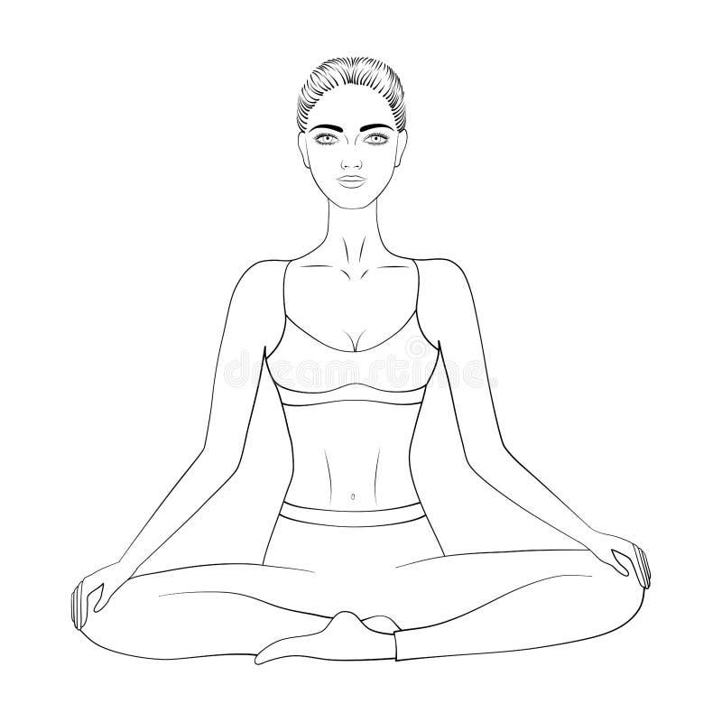 Czarny i biały wektorowy wizerunek kobiety ćwiczy medytacja lub joga royalty ilustracja