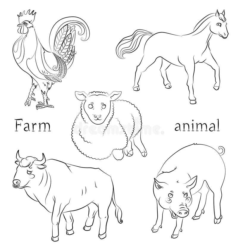 Czarny i biały wizerunek byk, kogut, świnia, koń i cakiel, royalty ilustracja
